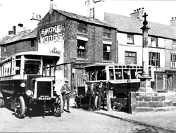 Parked Buses At Market Place, Poulton ~ C1920's